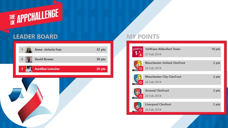 The UK AppChallenge screen shot 2