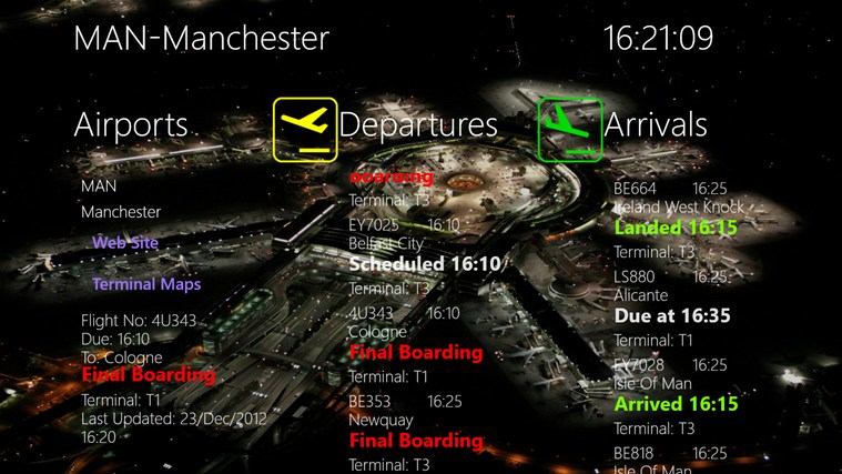 APPA Flight Info screen shot 2