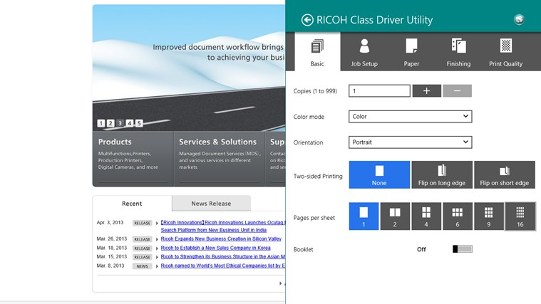 RICOH Class Driver Utility screen shot 0