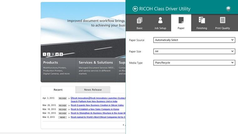 RICOH Class Driver Utility screen shot 2