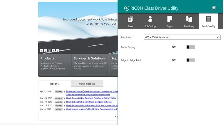 RICOH Class Driver Utility screen shot 4