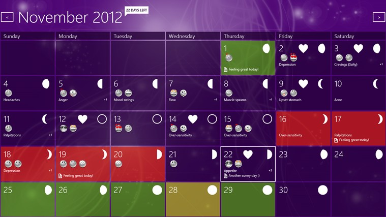 Woman Calendar screenshot