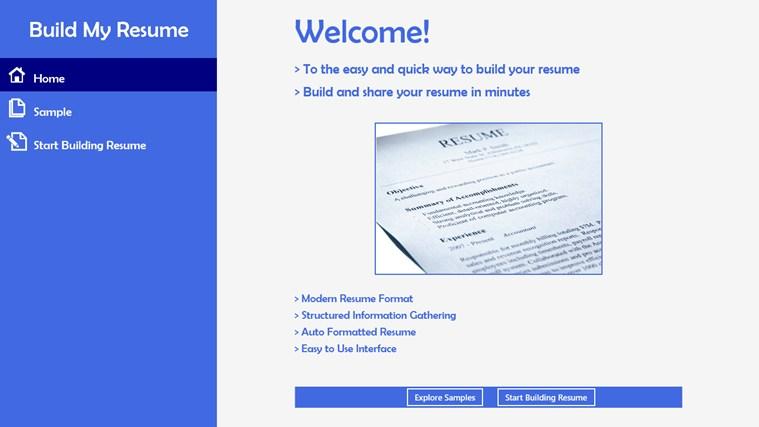 resume format resume builder apps windows 8
