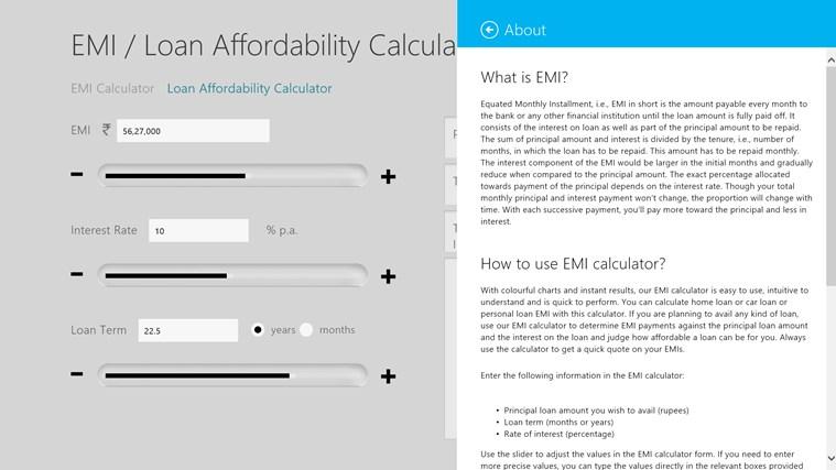 EMI Calculator screen shot 2