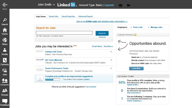 LinkedIn Touch screen shot 4
