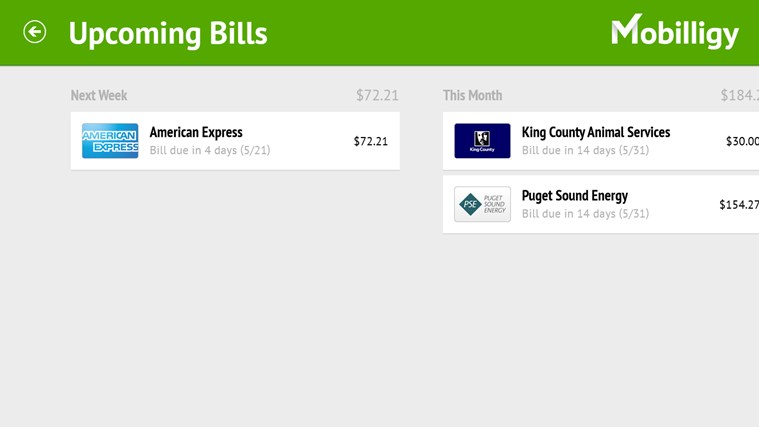 Mobilligy Bill Pay screen shot 2