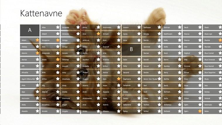 Kattenavne skærmbillede 0
