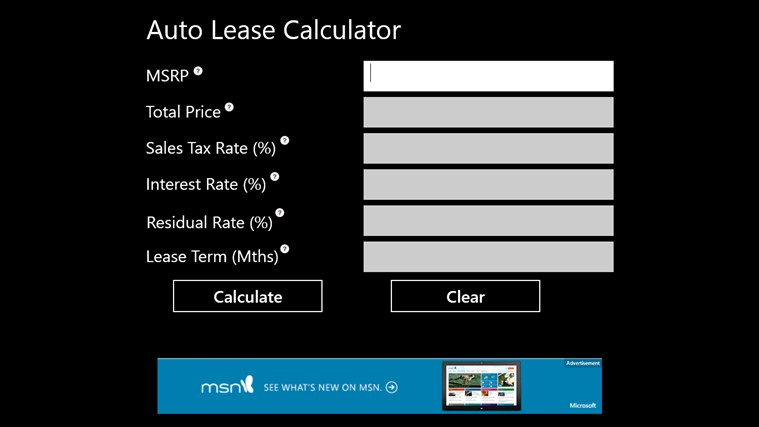 lease calculator excel