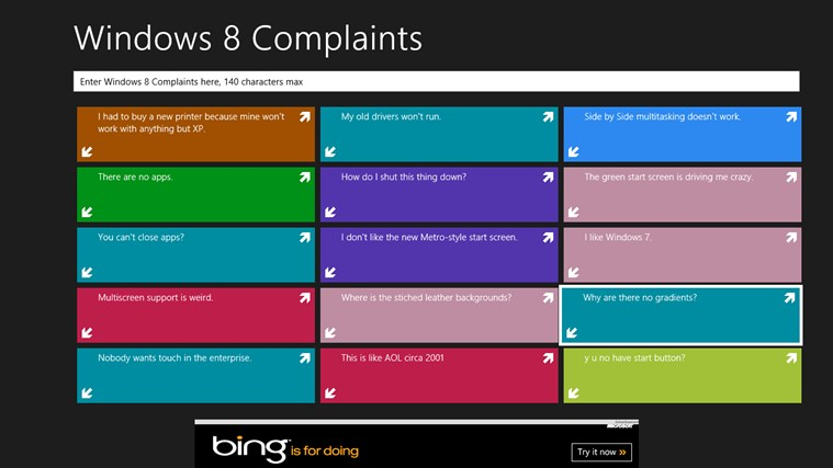 Windows 8 Complaints screen shot 0