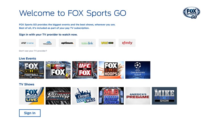 FOX Sports GO screen shot 2