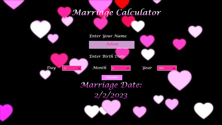 The Marriage Calculator screen shot 2