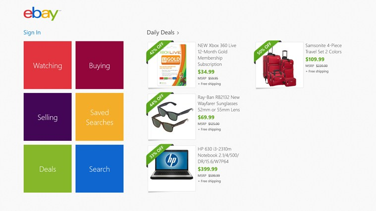 The eBay app for Windows 8