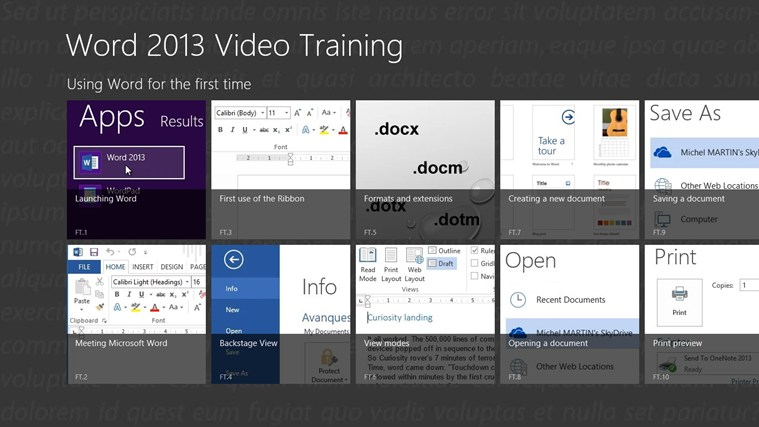 Video Training for Word ® 2013 screen shot 0