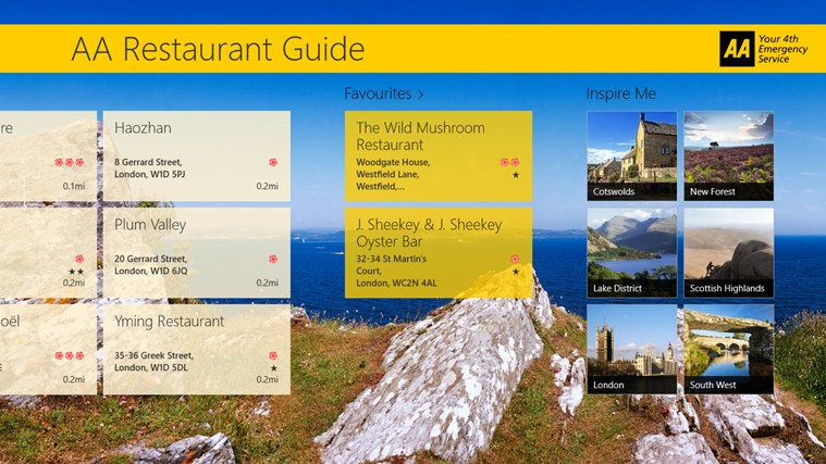 AA Restaurant Guide screen shot 2