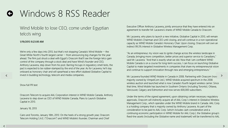 Windows 8 RSS Reader screen shot 2