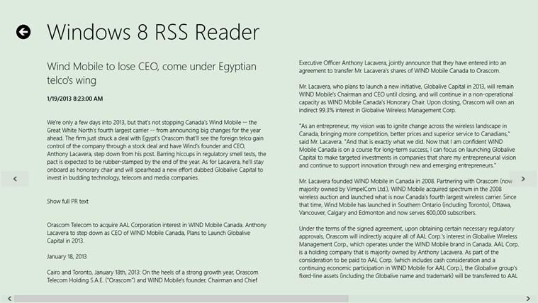 Windows 8 RSS Reader screen shot 2