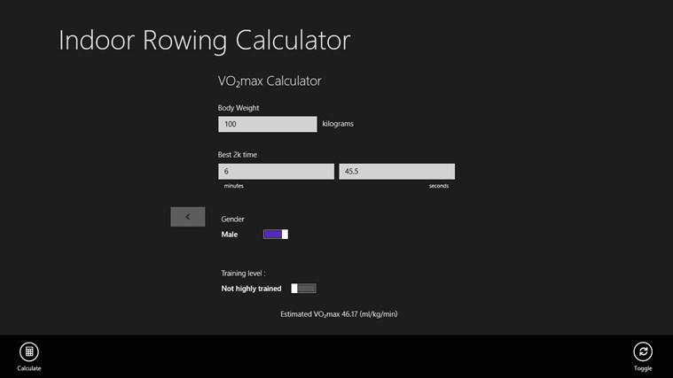 Indoor Rowing Calculator screen shot 0