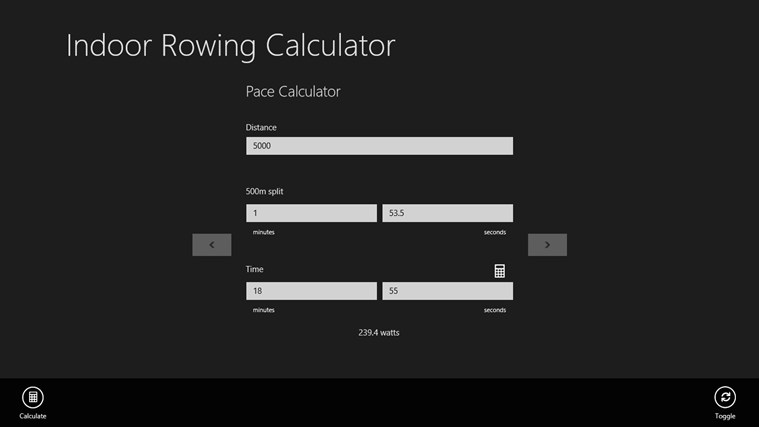 Indoor Rowing Calculator screen shot 2