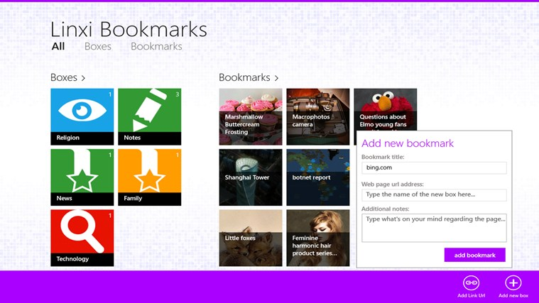 Linxi Bookmarks screen shot 2