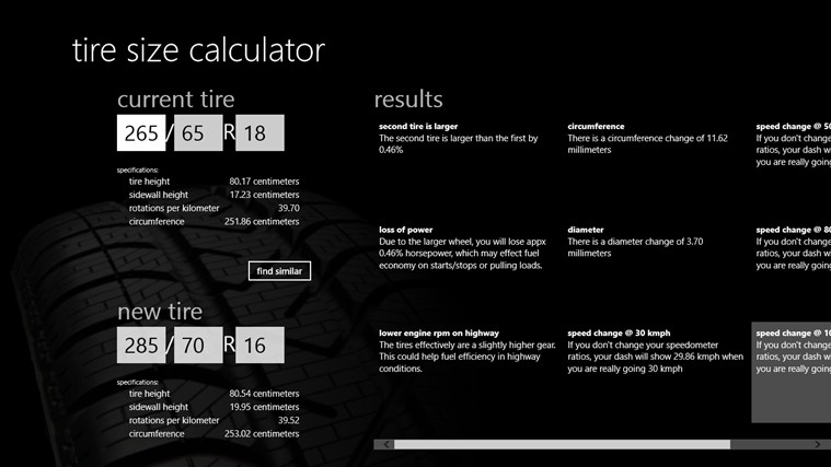 FSSI Tire Size Calculator app for Windows in the Windows Store