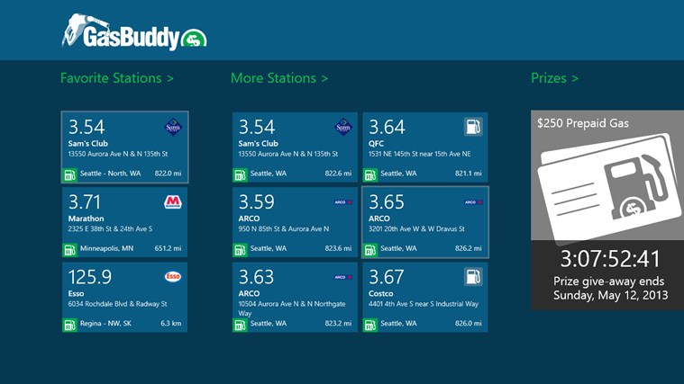 Windows 8 GasBuddy for Win8 UI full