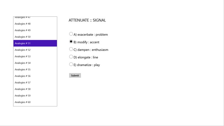 GRE Verbal Exam Practice Test Screenshot 2