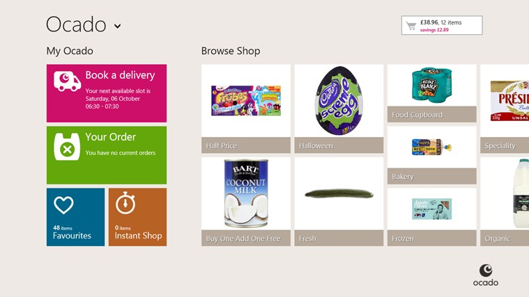Ocado screen shot 0