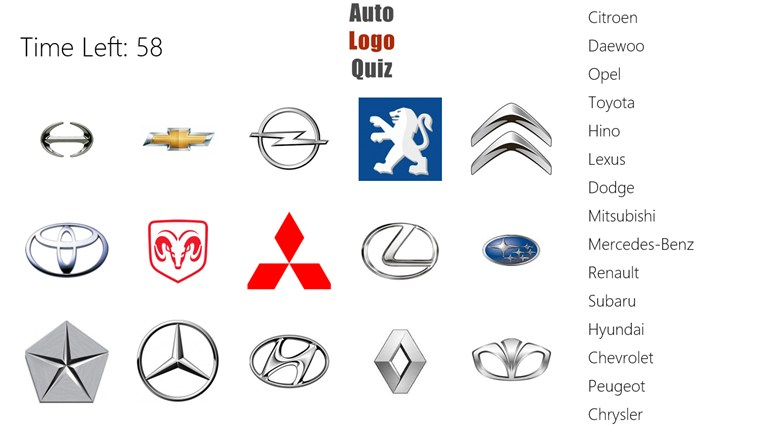 Auto Logo Quiz app for Windows in the Windows Store