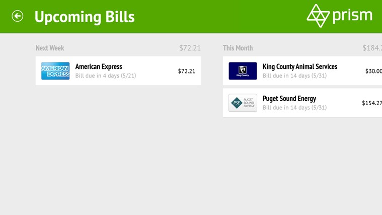 Prism Bill Pay screen shot 2