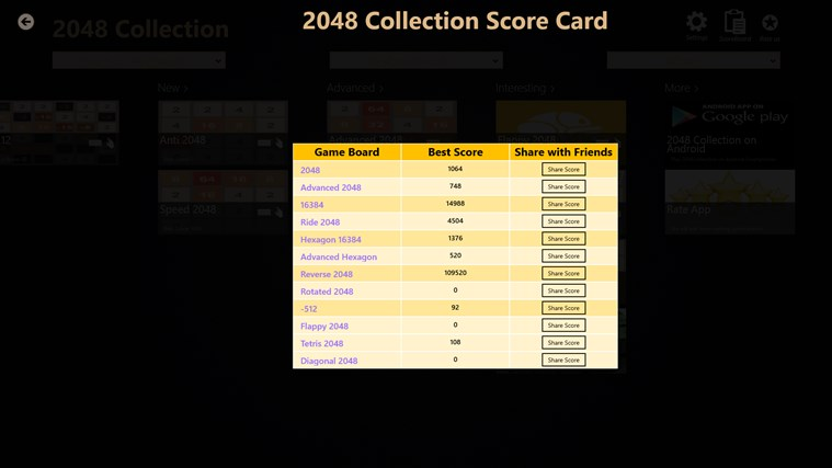 2048 Collection: 12 Game Boards screen shot 4