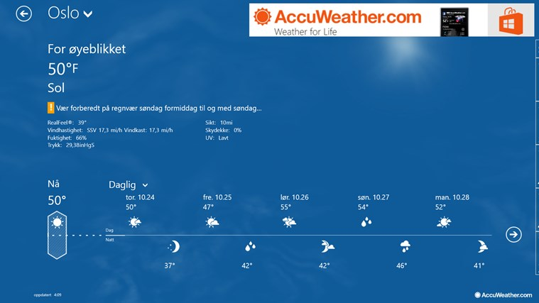 AccuWeather for Windows 8 skjermbilde 0