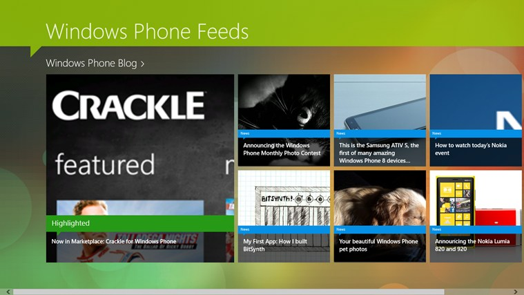 Windows Phone Feeds screen shot 0
