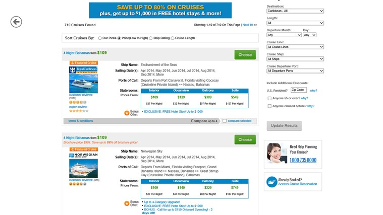 Priceline.com screen shot 2