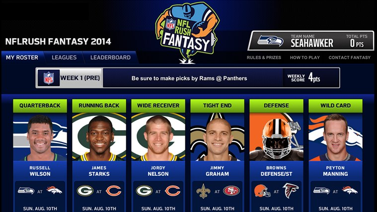 NFLRUSH Fantasy Football screen shot 2