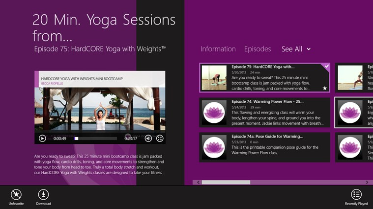 20 Min. Yoga Sessions from YogaDownload.com screen shot 0