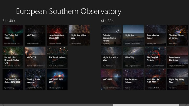 European Southern Observatory screen shot 2