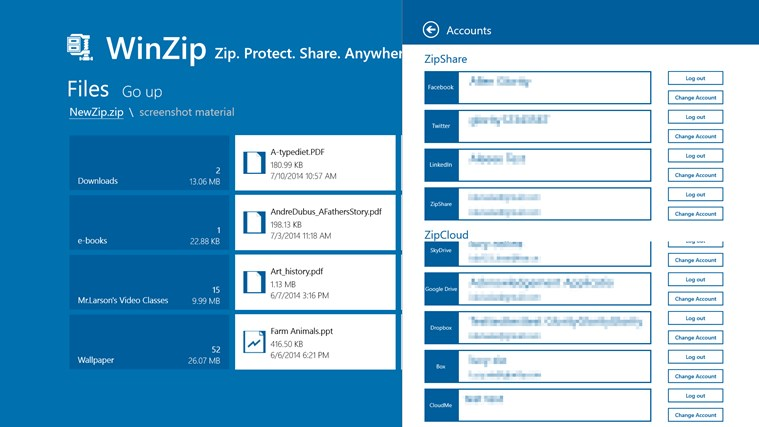WinZip screen shot 2