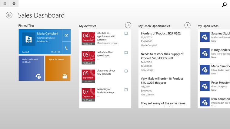 Microsoft Dynamics CRM for Windows 8 screen shot 0