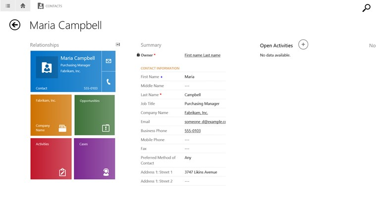 Microsoft Dynamics CRM for Windows 8 screen shot 2