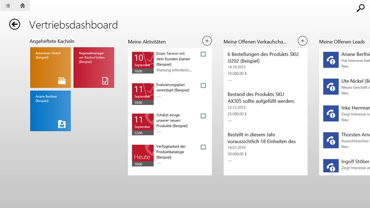 Microsoft Dynamics CRM für Windows 8 Screenshot 0