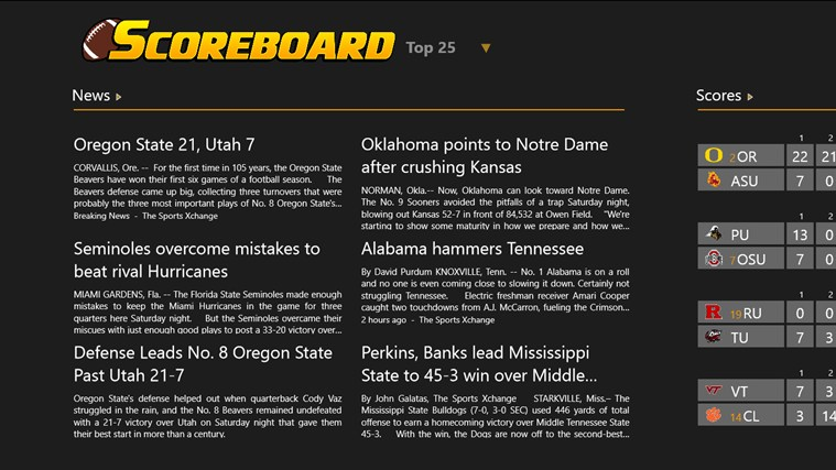 College Football Scoreboard screen shot 0