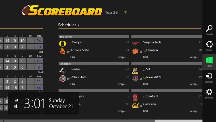 College Football Scoreboard screen shot 2