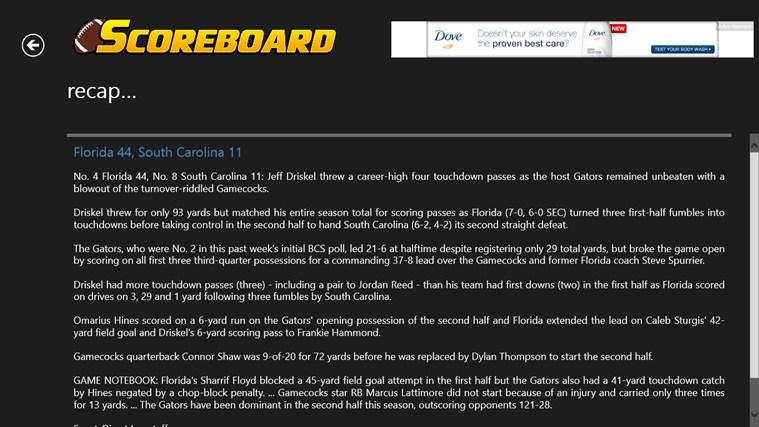 College Football Scoreboard screen shot 4