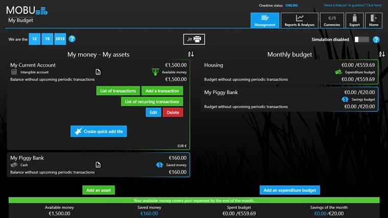 MoBu - Financial management screen shot 2