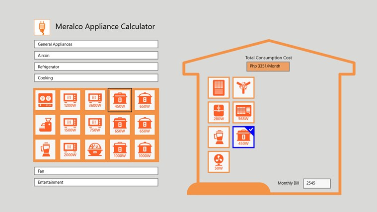 Meralco Appliance Calculator screen shot 2