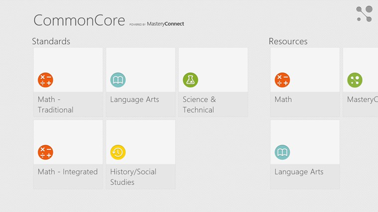 Common Core Standards screen shot 0