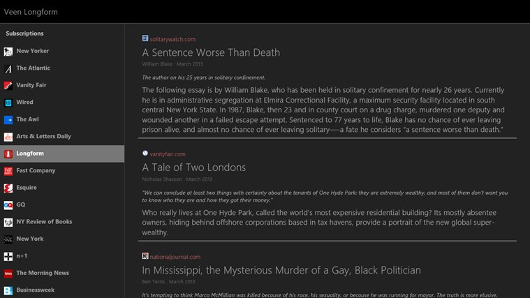 Veen Longform screen shot 2
