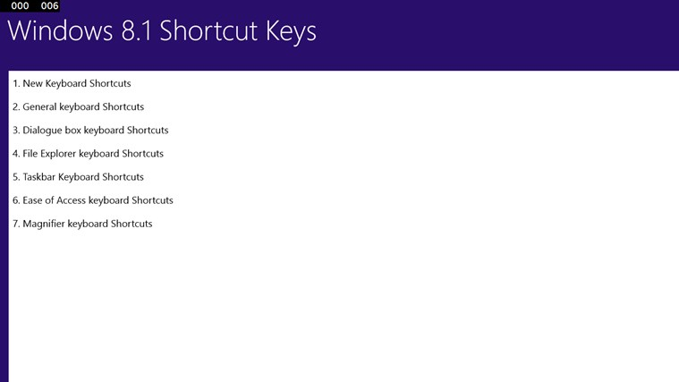 Windows 8.1 Shortcut Keys screen shot 2
