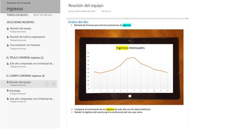OneNote captura de pantalla 6