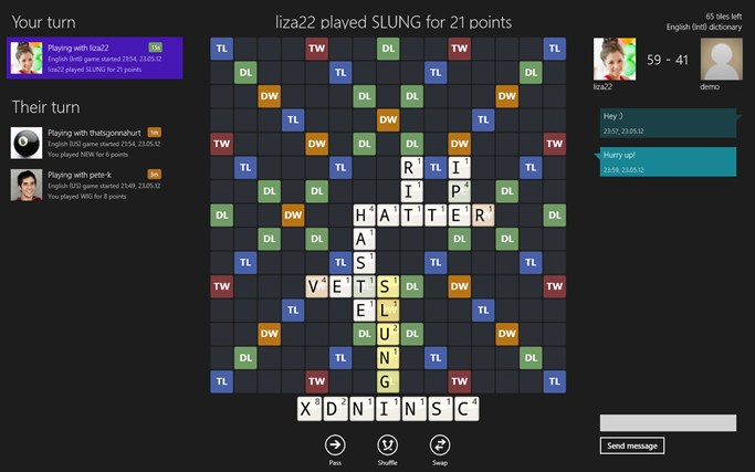 Wordfeud screen shot 0